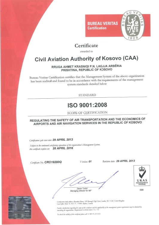 AACK ISO 9001-2008 Certificate